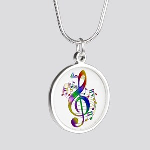 Colorful Treble Clef Silver Round Necklace