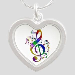 Colorful Treble Clef Silver Heart Necklace