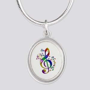 Colorful Treble Clef Silver Oval Necklace