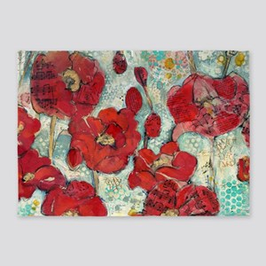 Glowing Red Poppies 5'x7'Area Rug