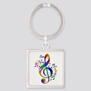 Colorful Treble Clef Square Keychain