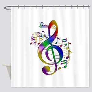 Colorful Treble Clef Shower Curtain