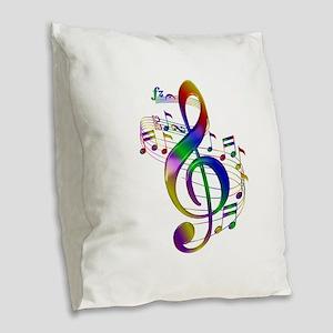 Colorful Treble Clef Burlap Throw Pillow