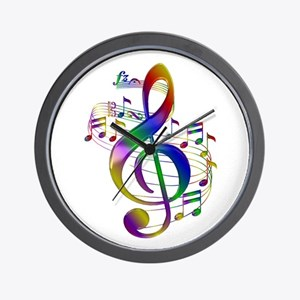 Colorful Treble Clef Wall Clock