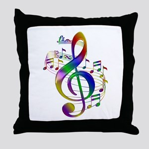 Colorful Treble Clef Throw Pillow