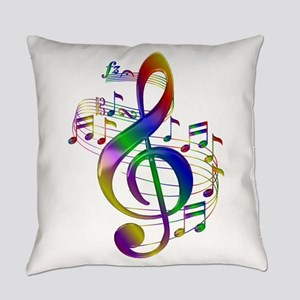 Colorful Treble Clef Everyday Pillow