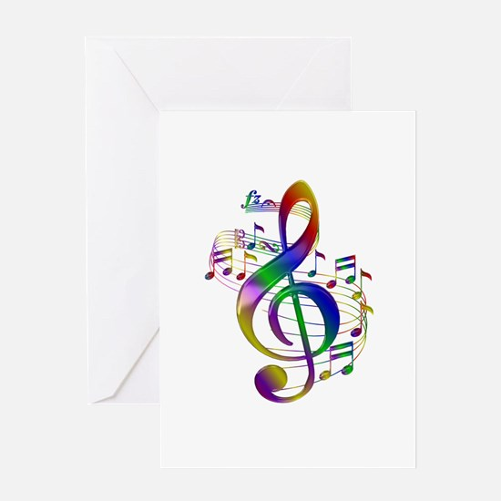 Colorful Treble Clef Greeting Card