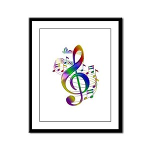 Colorful Treble Clef Framed Panel Print