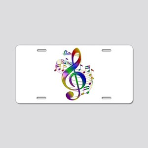 Colorful Treble Clef Aluminum License Plate