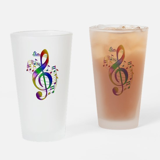 Colorful Treble Clef Drinking Glass
