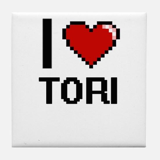 I Love Tori Digital Retro Design Tile Coaster