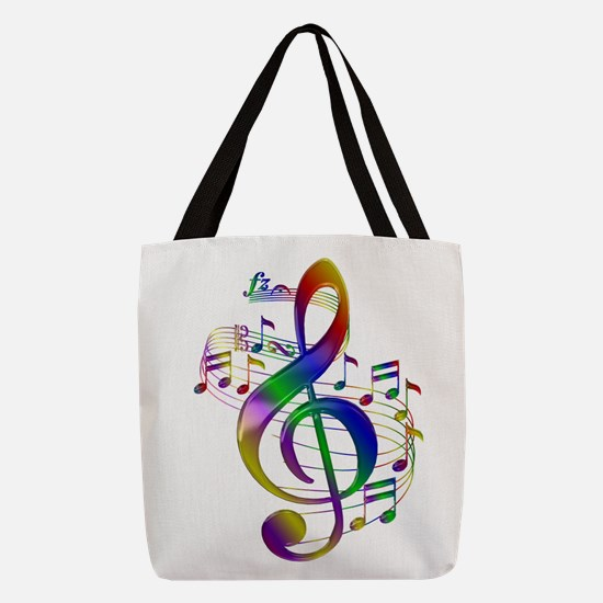 Colorful Treble Clef Polyester Tote Bag
