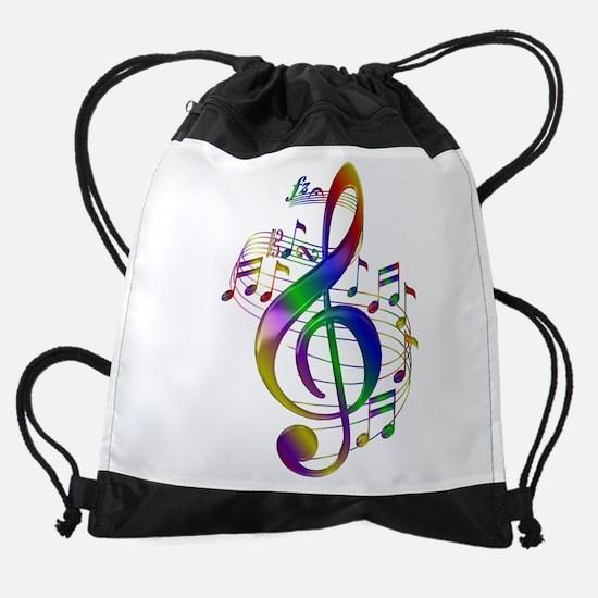 Colorful Treble Clef Drawstring Bag