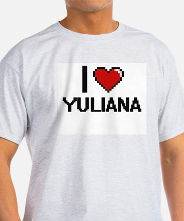 I Love Yuliana Digital Retro Design T-Shirt