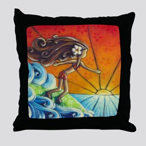 Sunrise Surfer Girl Throw Pillow