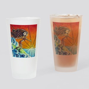 Sunrise Surfer Girl Drinking Glass