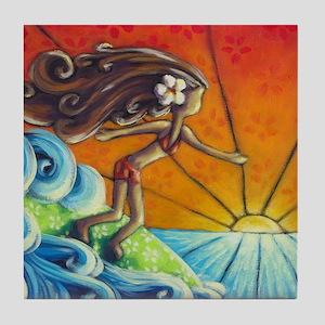 Sunrise Surfer Girl Tile Coaster