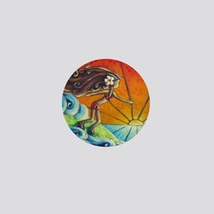 Sunrise Surfer Girl Mini Button