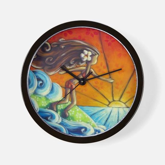 Sunrise Surfer Girl Wall Clock