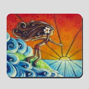 Sunrise Surfer Girl Mousepad