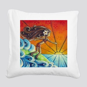 Sunrise Surfer Girl Square Canvas Pillow