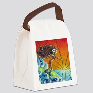 Sunrise Surfer Girl Canvas Lunch Bag