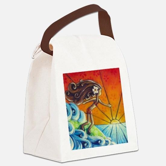 Sunrise Surfer Girl Canvas Lunch Bag