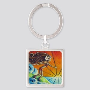 Sunrise Surfer Girl Square Keychain