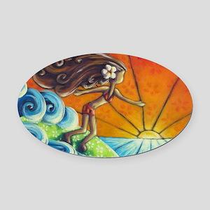 Sunrise Surfer Girl Oval Car Magnet