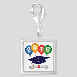 2018 Grad Silver Square Charm