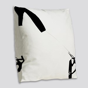 Kite Surfing Burlap Throw Pillow