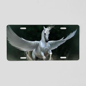 White Pegasus Aluminum License Plate