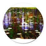 Fall Pond Round Car Magnet