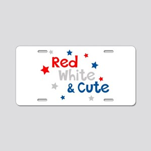Red, White & Cute Aluminum License Plate