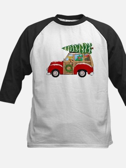 Vintage Christmas Woody Wagon Baseball Jersey