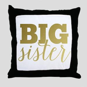 Gold Foil Big Sister Throw Pillow