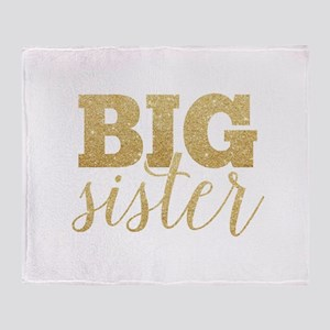 Glitter Big Sister Throw Blanket