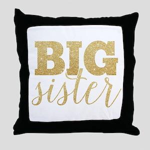 Glitter Big Sister Throw Pillow
