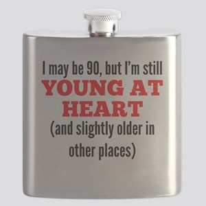90 Years Old Young At Heart Flask