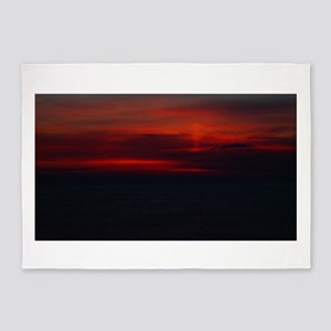 Deep Dark Sunrise At The Beach 5'x7'Area Rug