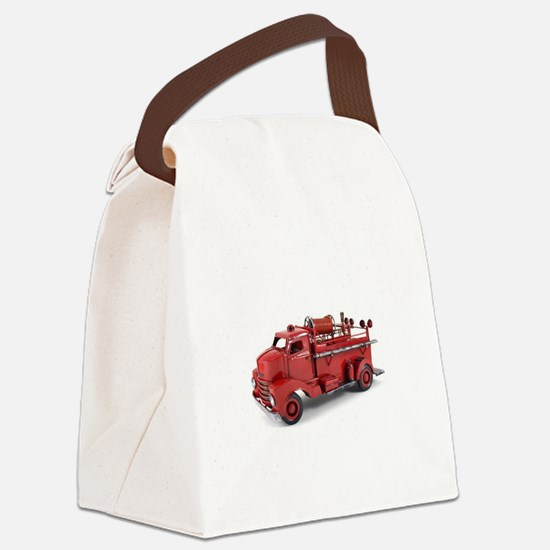 Vintage Metal Fire Truck Canvas Lunch Bag