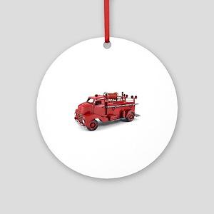 Vintage Metal Fire Truck Ornament (Round)