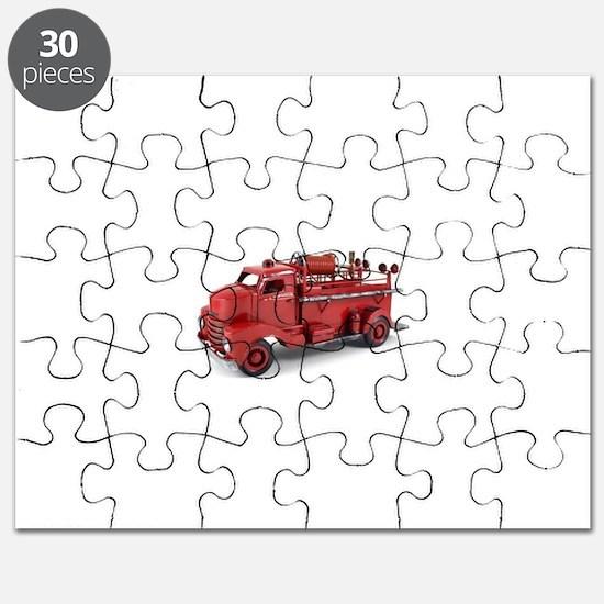 Vintage Metal Fire Truck Puzzle