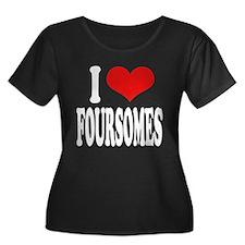 I Love Foursomes Women's Plus Size Scoop Neck Dark