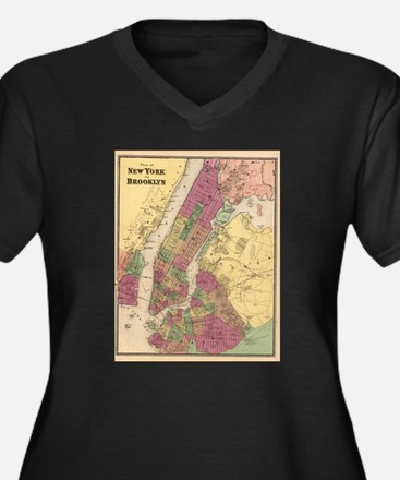 Vintage Map of NYC and Brooklyn Plus Size T-Shirt
