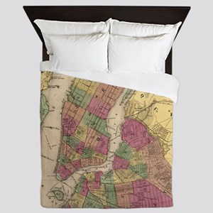 Vintage Map of NYC and Brooklyn (1868) Queen Duvet