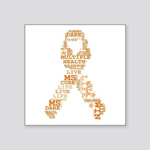 MS - Multiple Sclerosis Ribbon Word Art Sticker