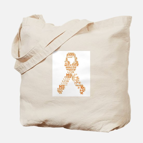 MS - Multiple Sclerosis Ribbon Word Art Tote Bag