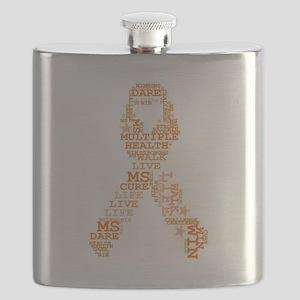 MS - Multiple Sclerosis Ribbon Word Art Flask
