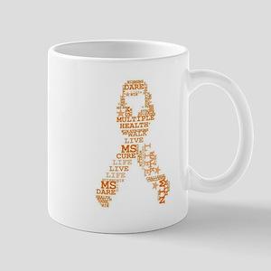MS - Multiple Sclerosis Ribbon Word Art Mugs
